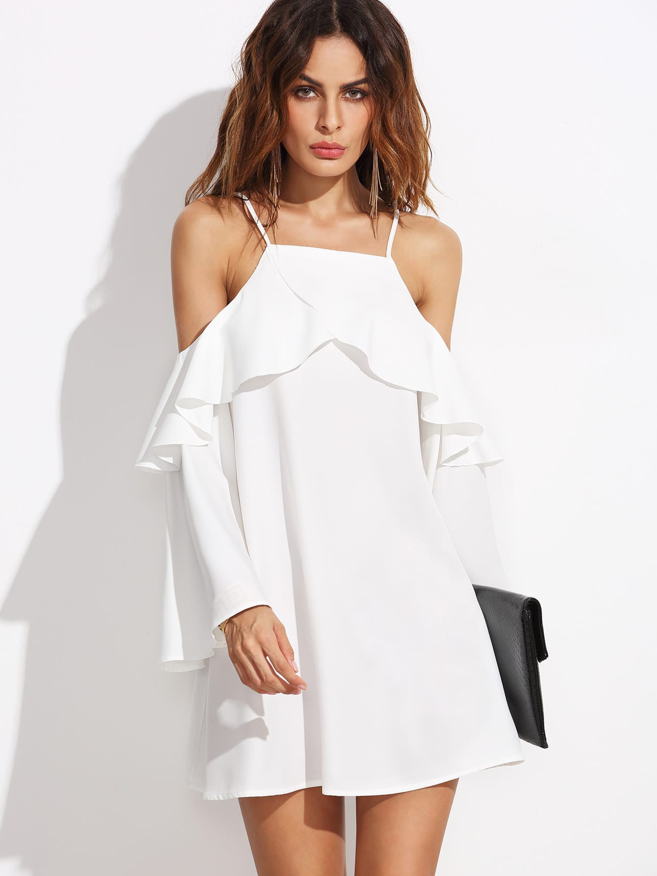 White Ruffle Trim Cold Shoulder Dress