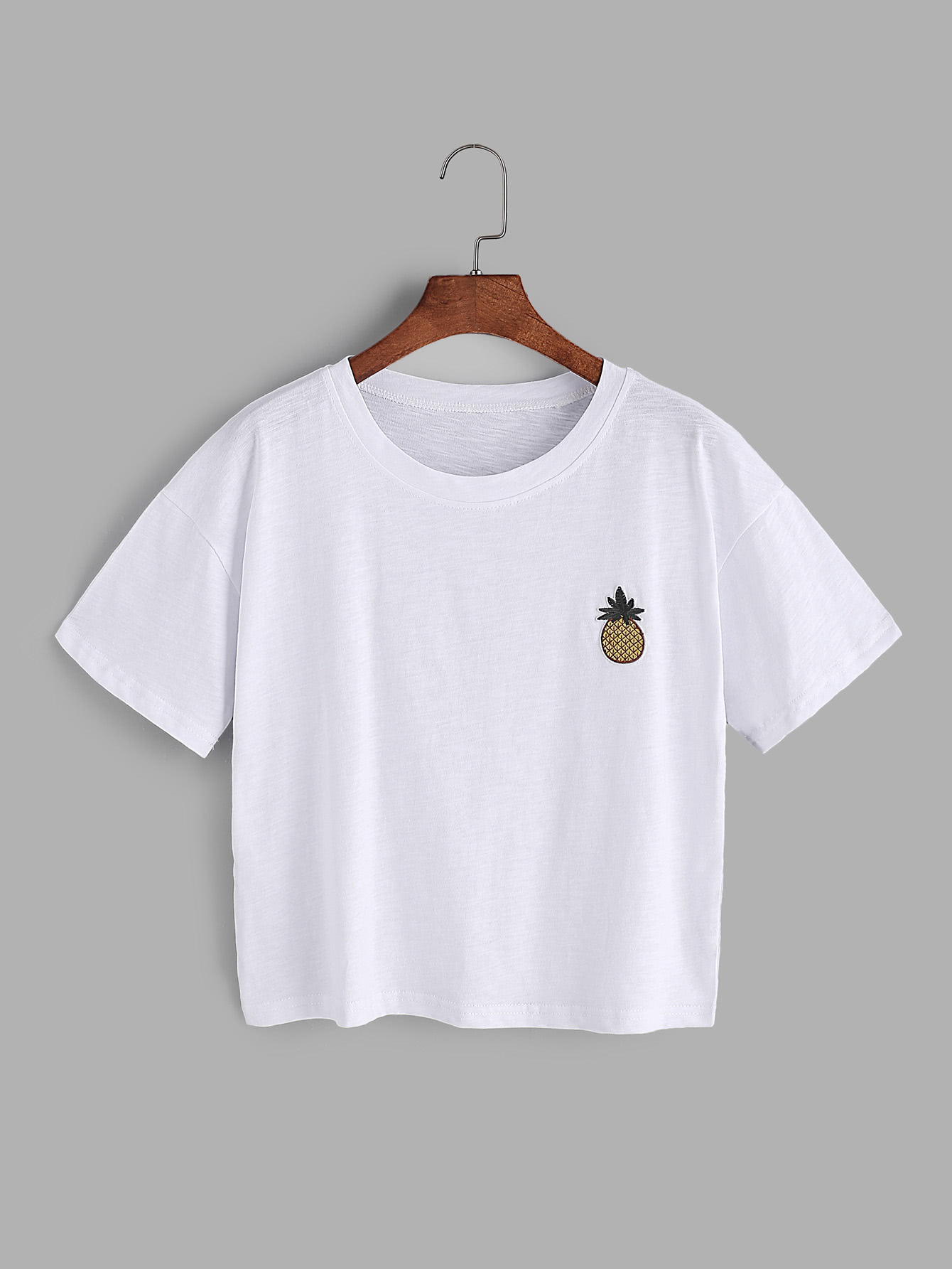 White pineapple embroidery t-shirt with dip hem dress