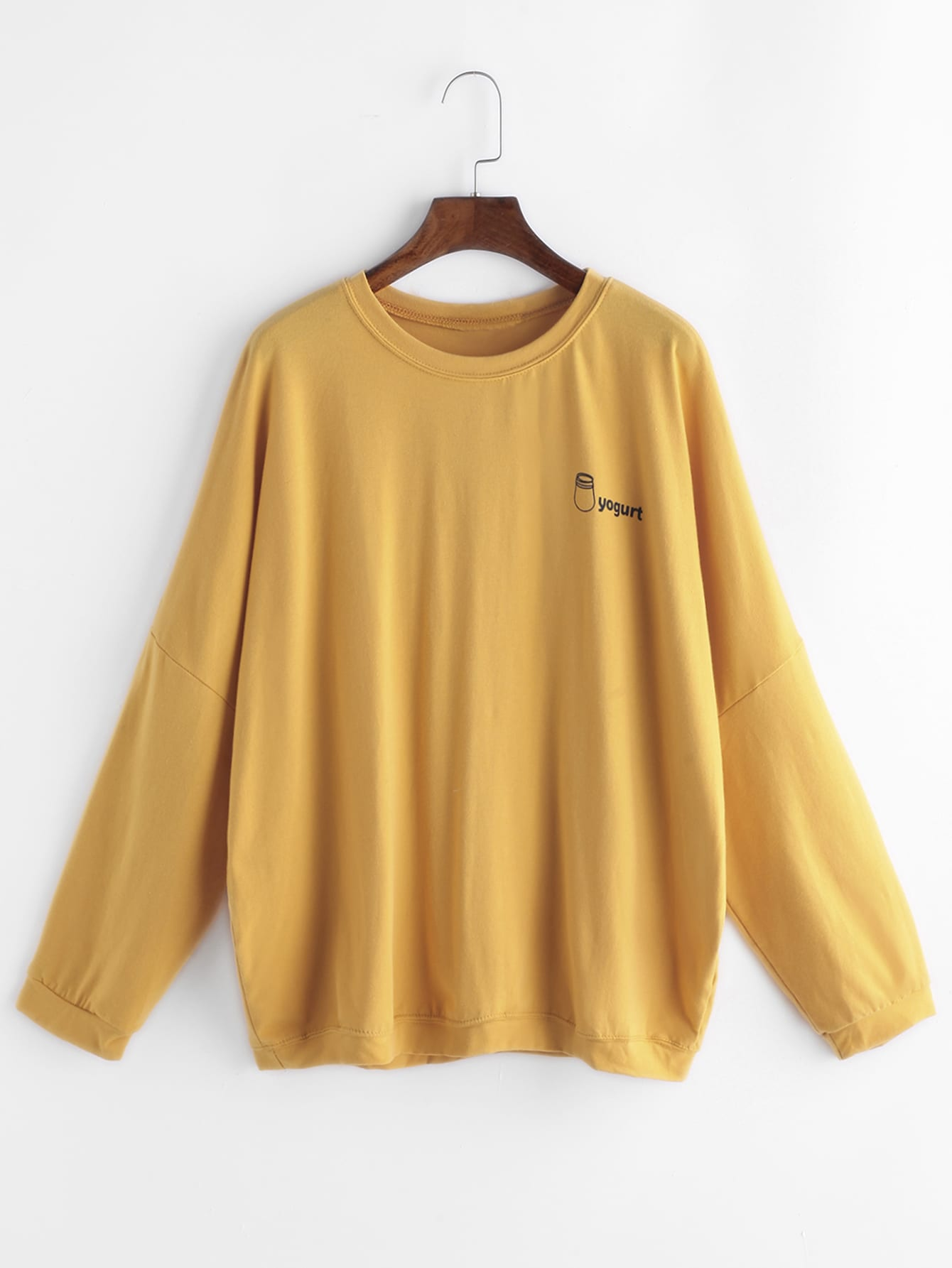 Yellow Letter Print Long Sleeve T Shirt