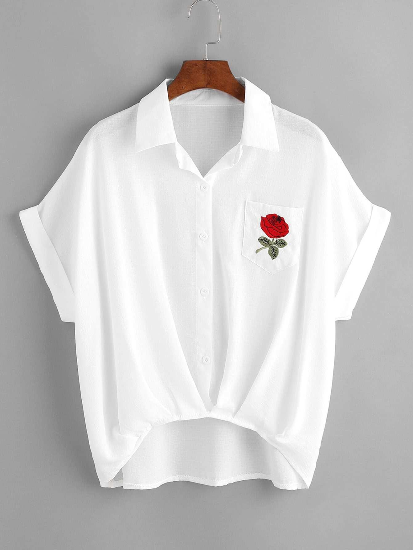 Rose embroidered high low cuffed shirtfor women romwe