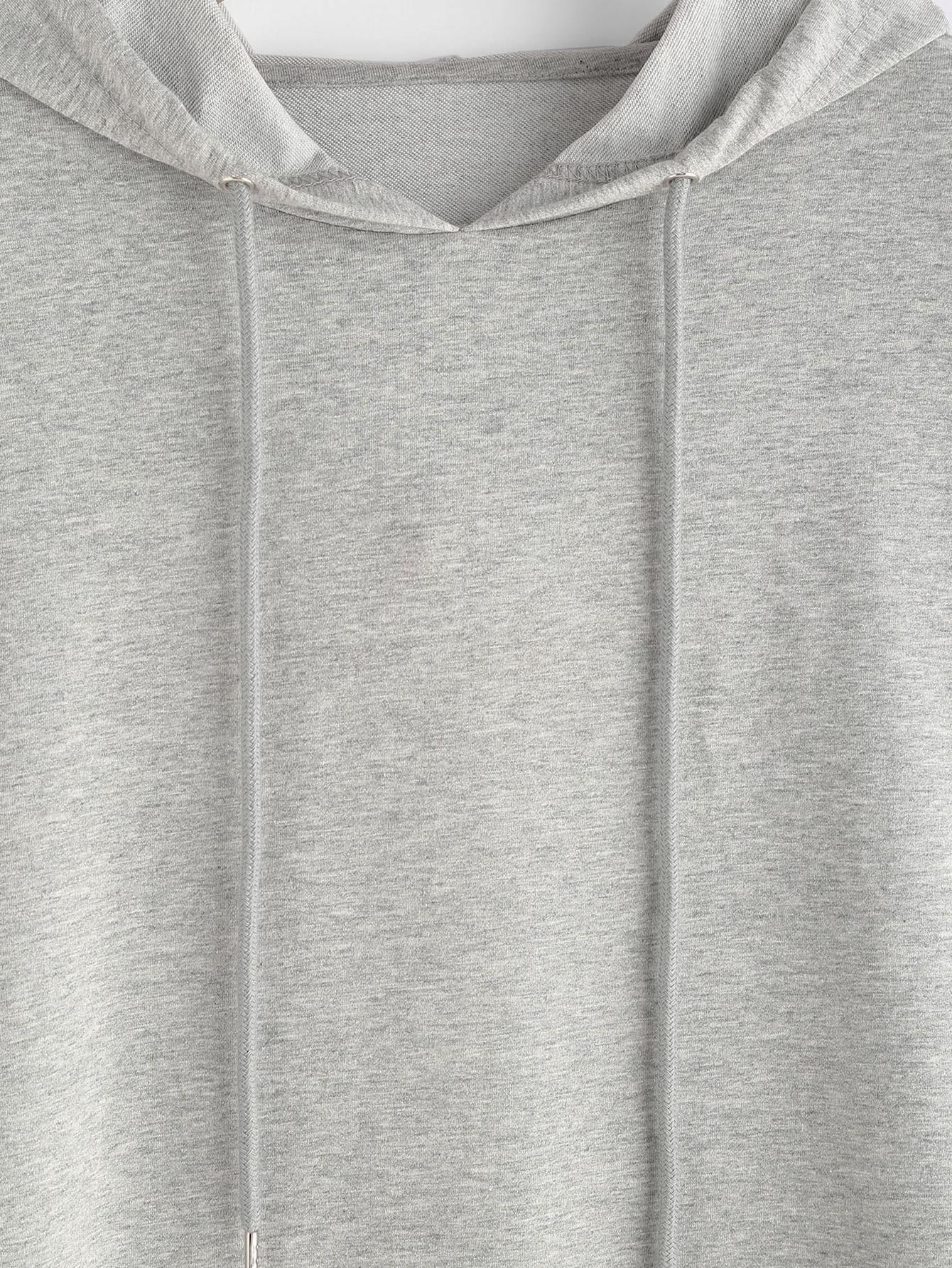 sweat capuche abandonn l 39 paule arri re ouverte gris french romwe. Black Bedroom Furniture Sets. Home Design Ideas
