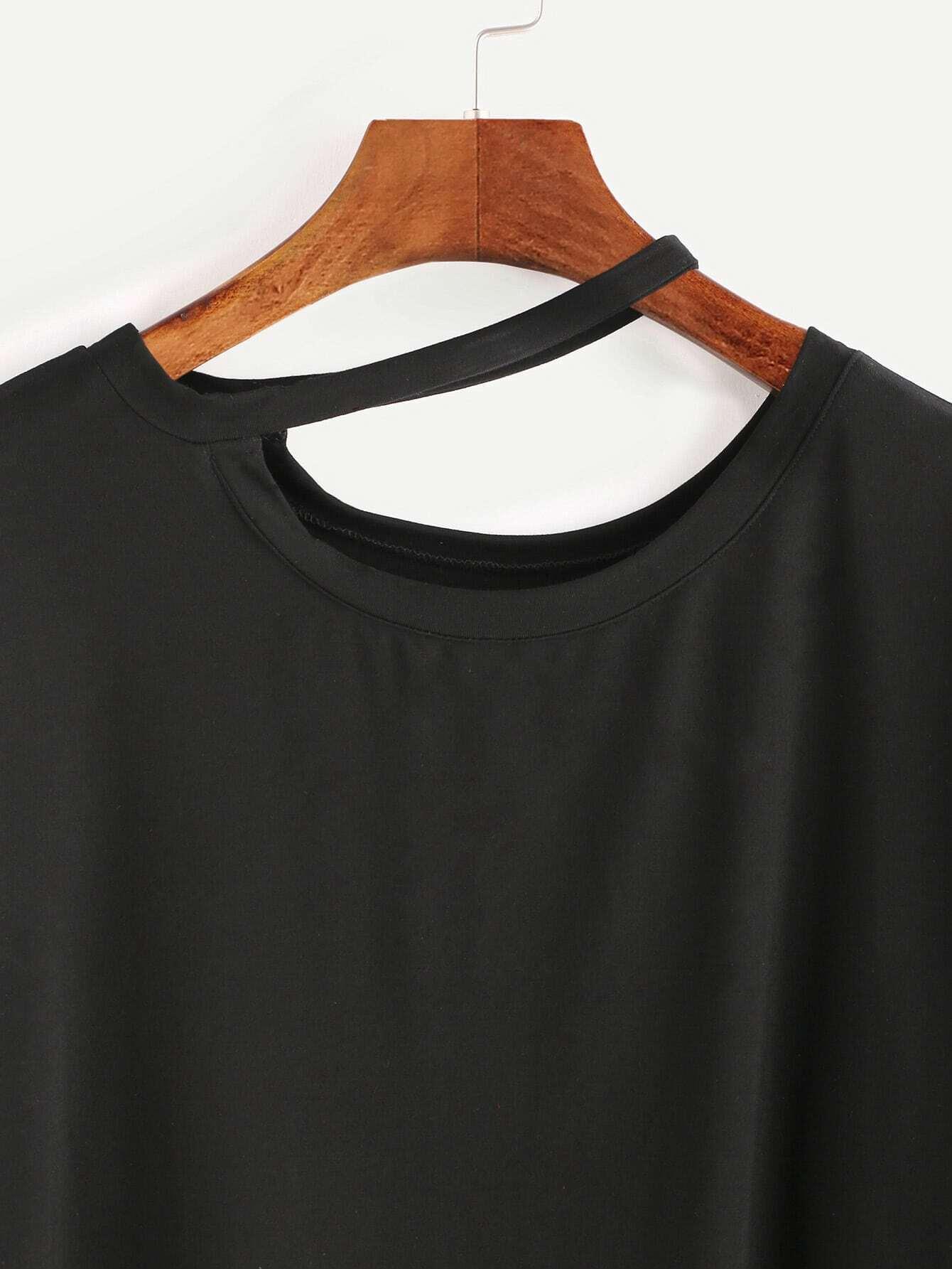 Black asymmetric cutout halter neck 3 4 sleeve t shirtfor for 3 4 sleeve shirt template