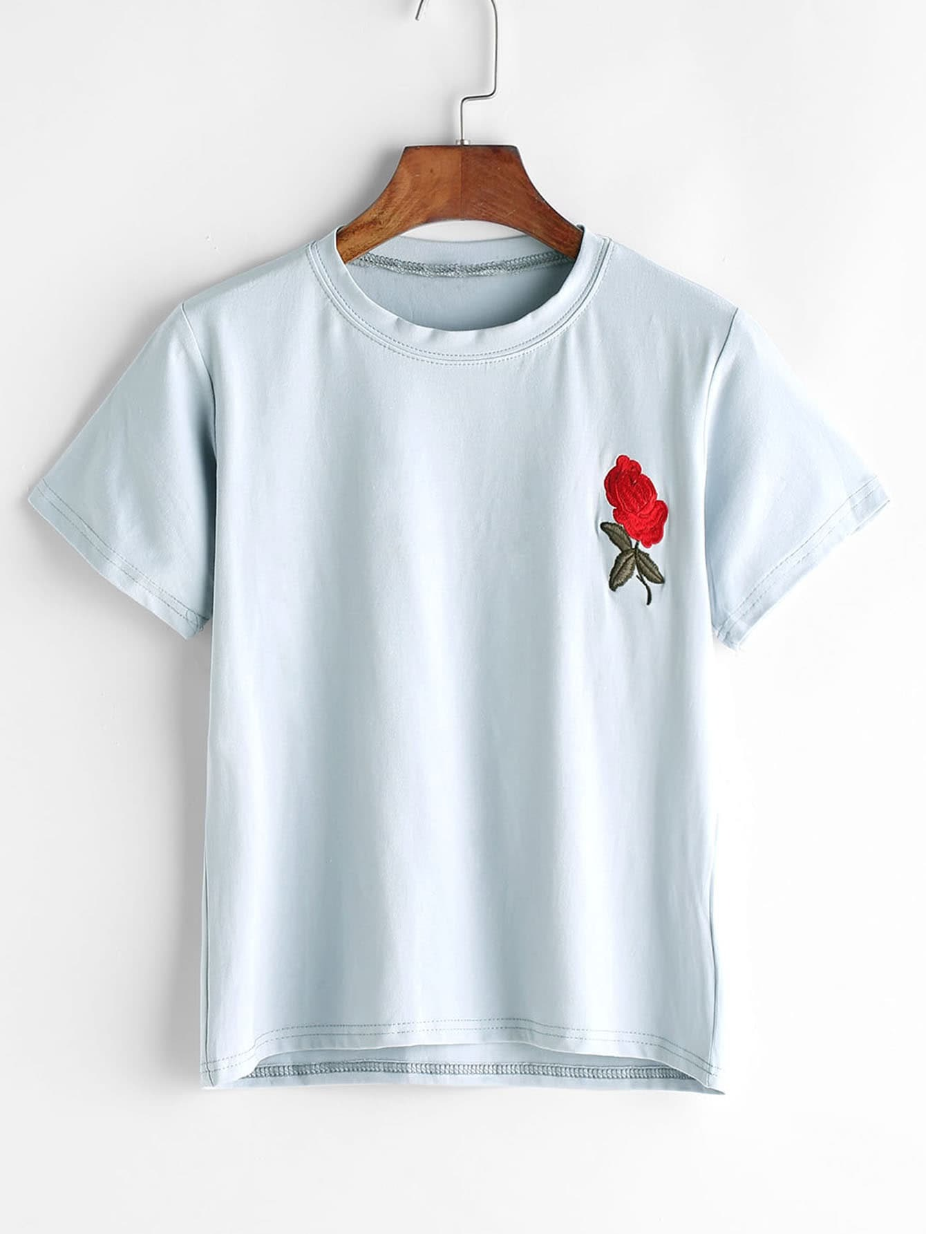 Rose embroidered t shirt