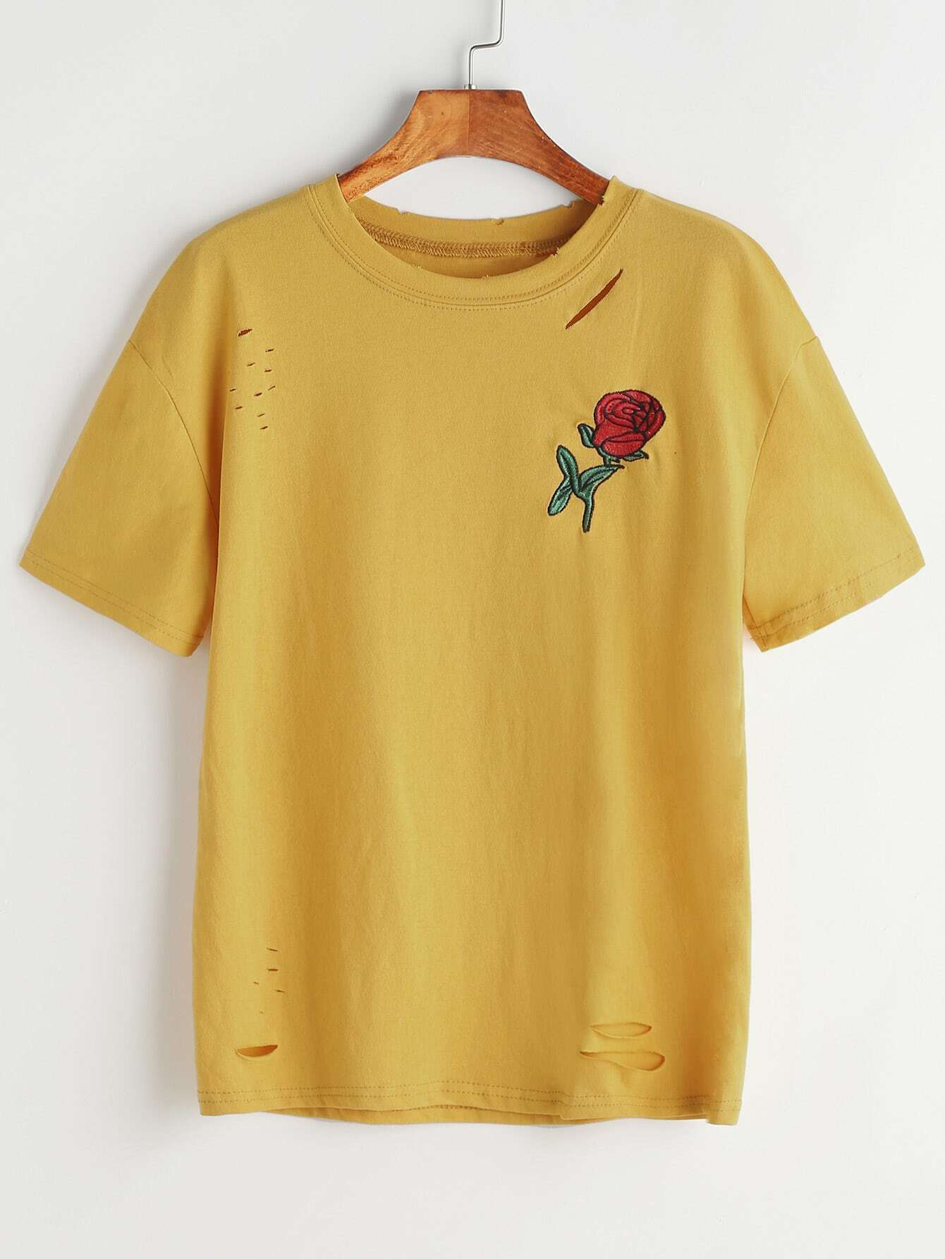 Mustard ripped rose embroidered tshirt