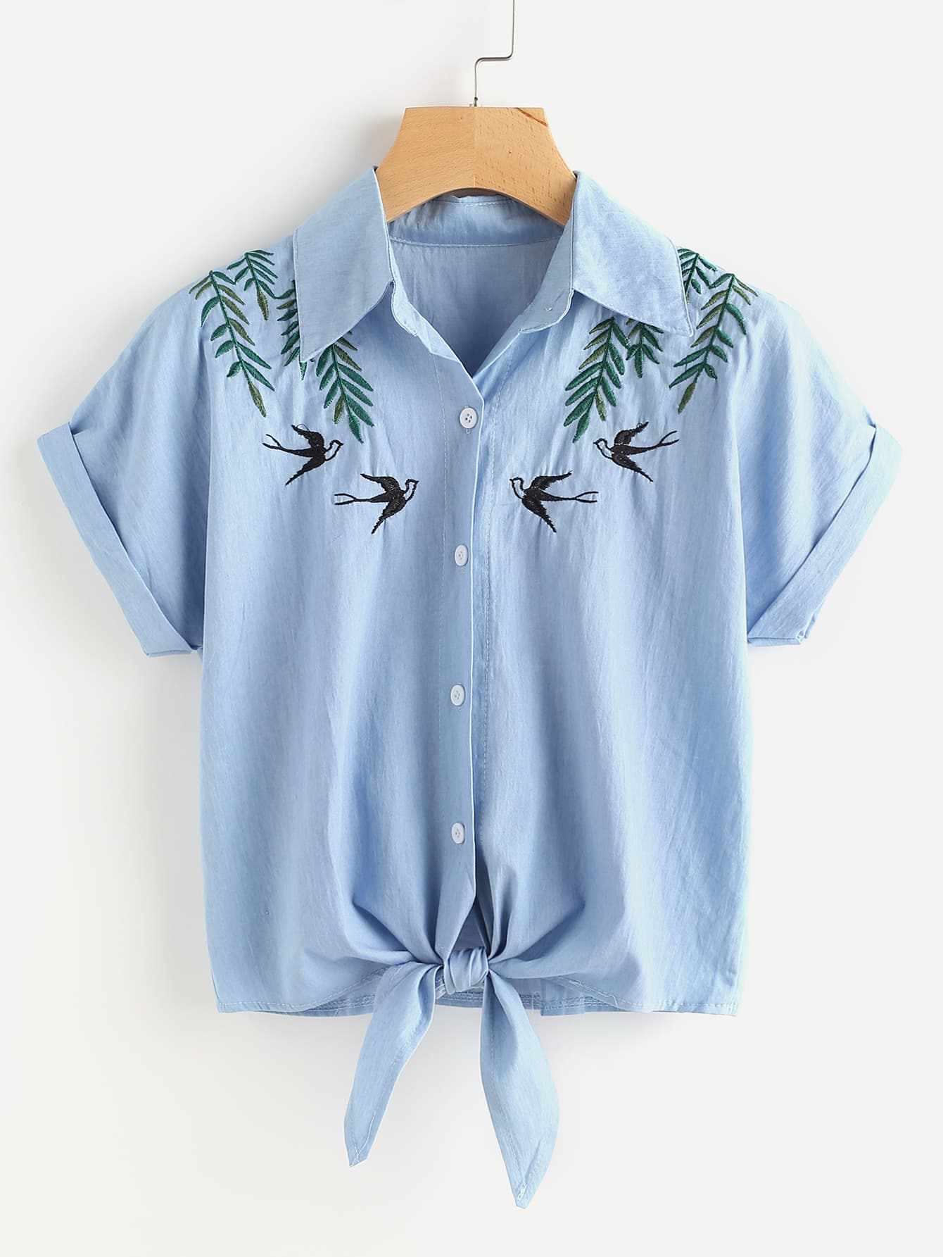 Tie front swallows embroidered denim shirtfor women romwe