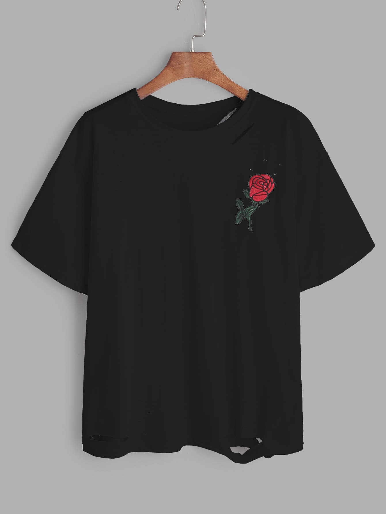 Black rose embroidered ripped t shirtfor women romwe