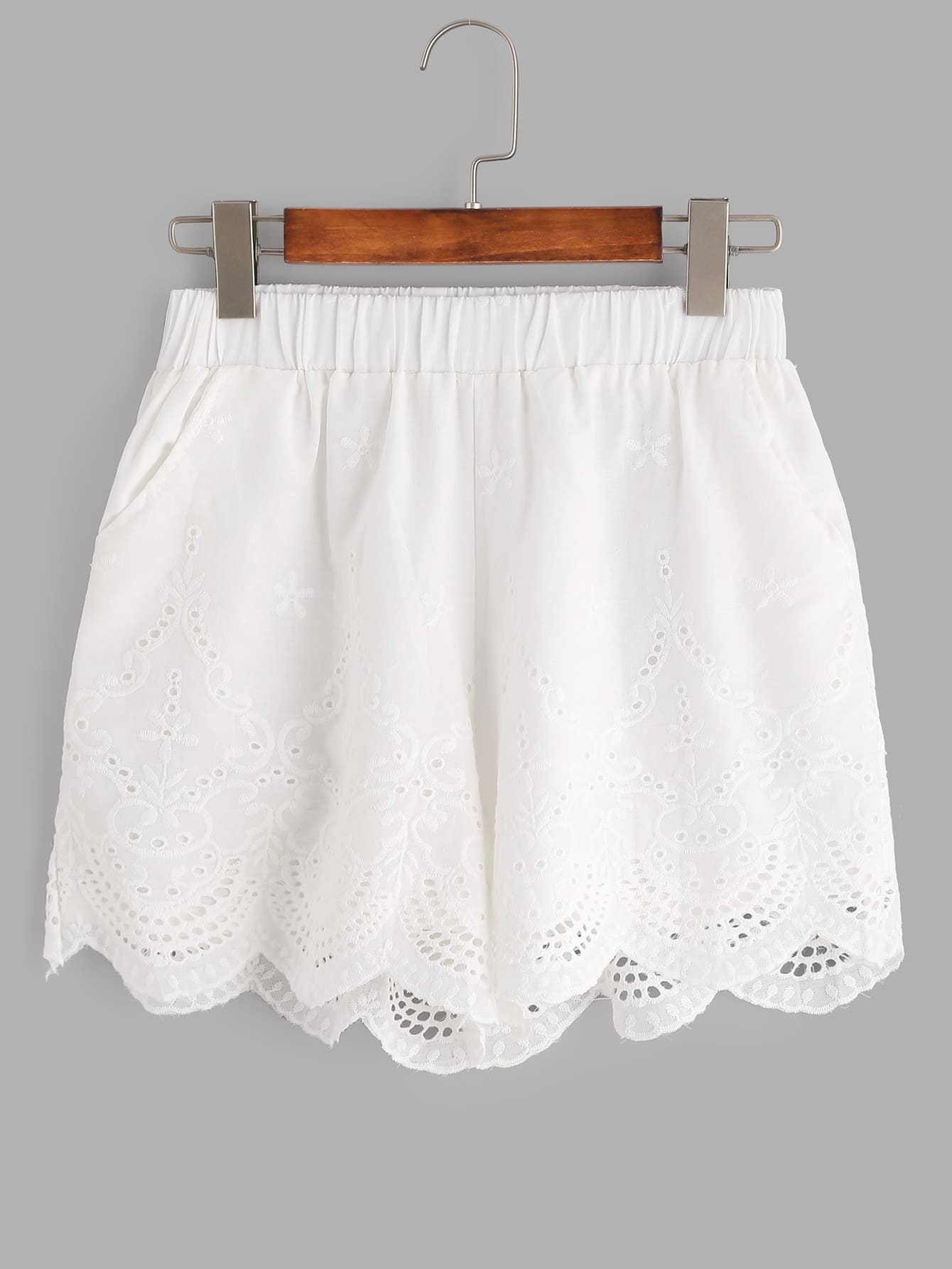 White Flower Embroidered Eyelet Scallop Hem Shorts