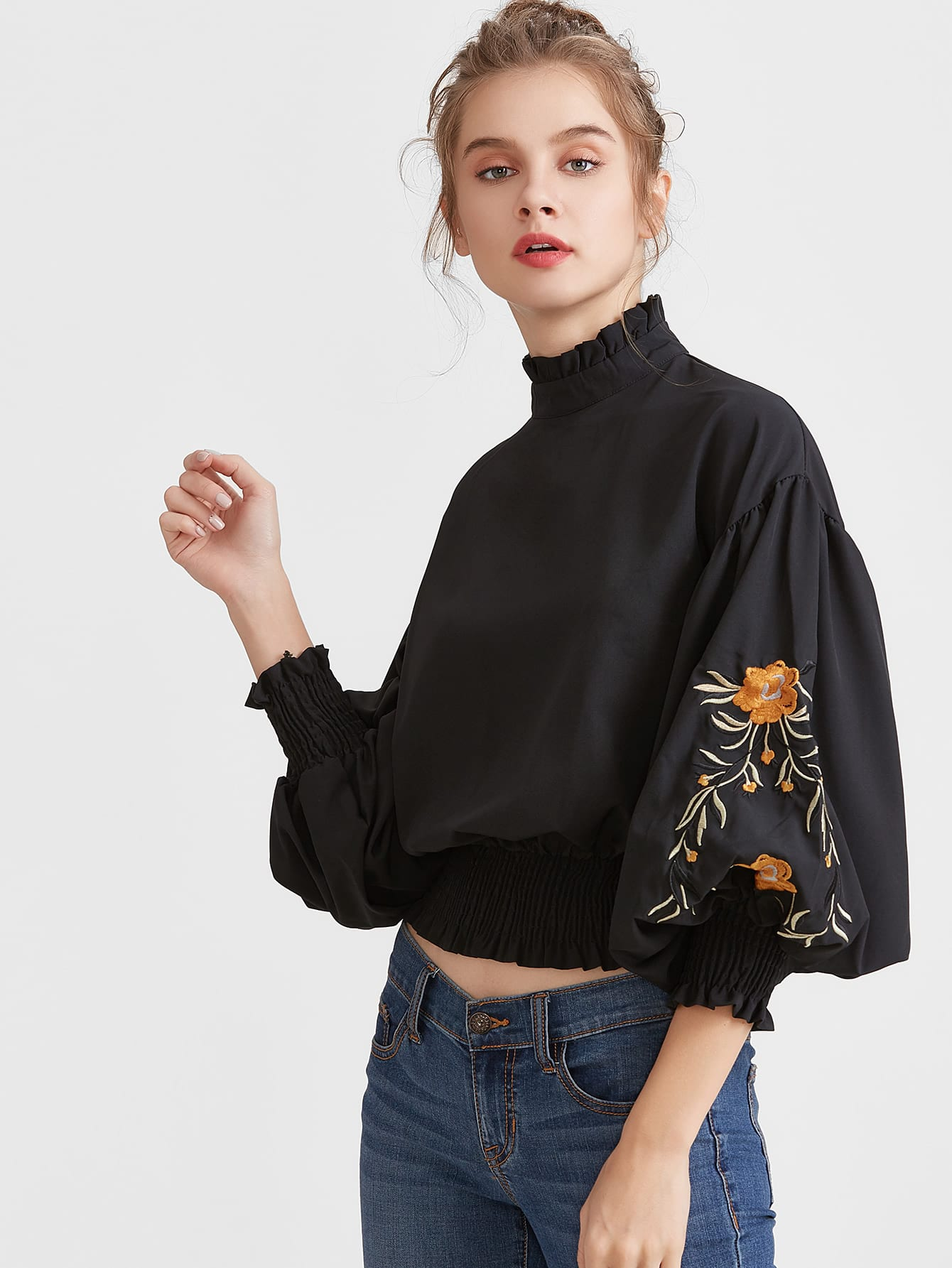 Black Flower Embroidered Lantern Sleeve Shirred Hem