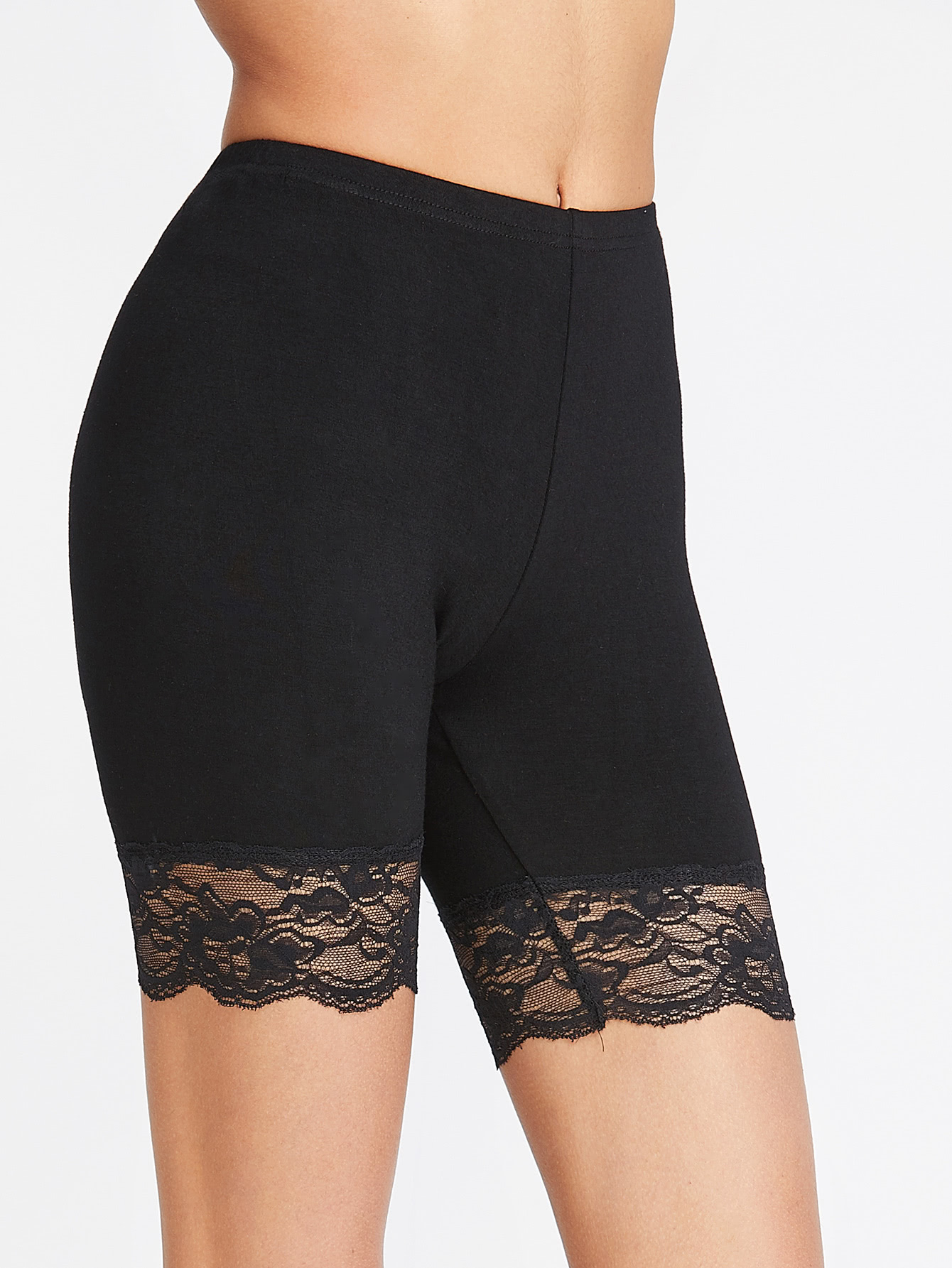 Product Features Basic solid color short leggings are desinged with super stretchy waist.