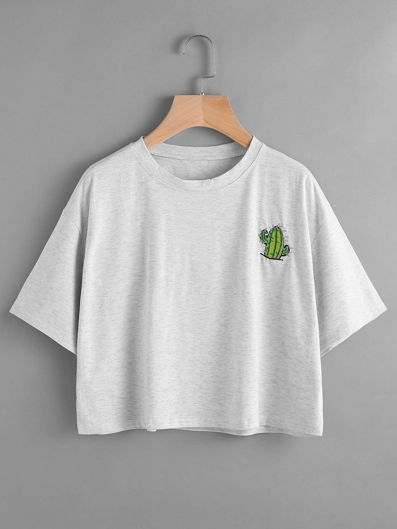 Cactus embroidered drop shoulder teefor women romwe