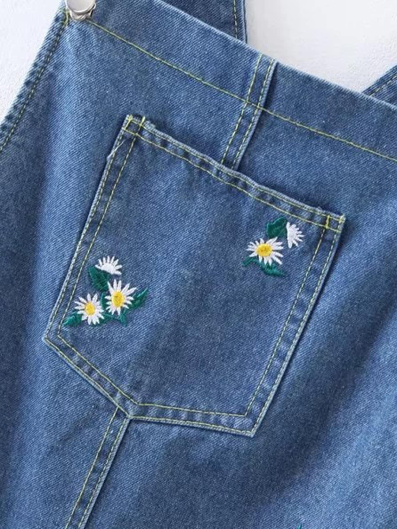 robe en jeans brod fleur french romwe. Black Bedroom Furniture Sets. Home Design Ideas