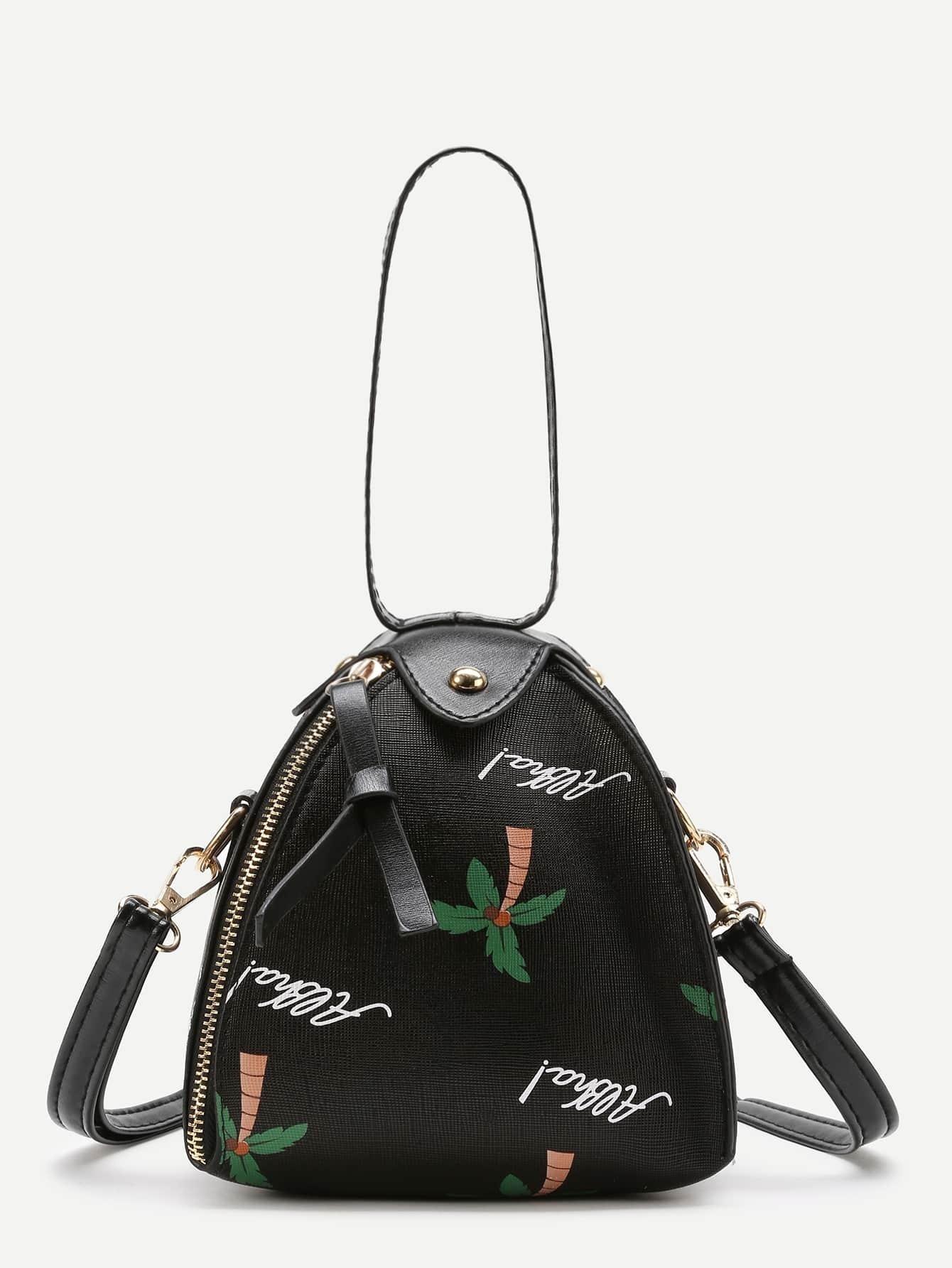 sac dos imprim palmier avec lacet convertible french romwe. Black Bedroom Furniture Sets. Home Design Ideas
