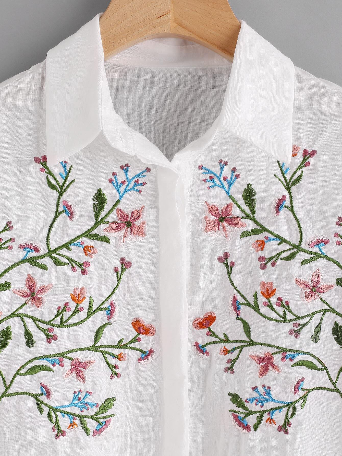 Floral embroidered frill trim blouse