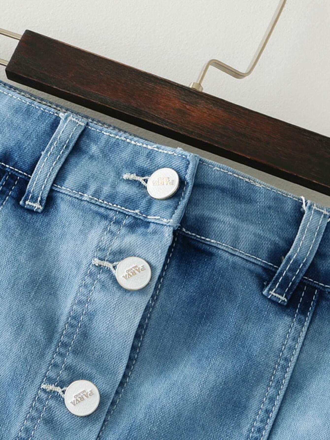 jupe en jeans a line brod fleur avec pan d chir. Black Bedroom Furniture Sets. Home Design Ideas