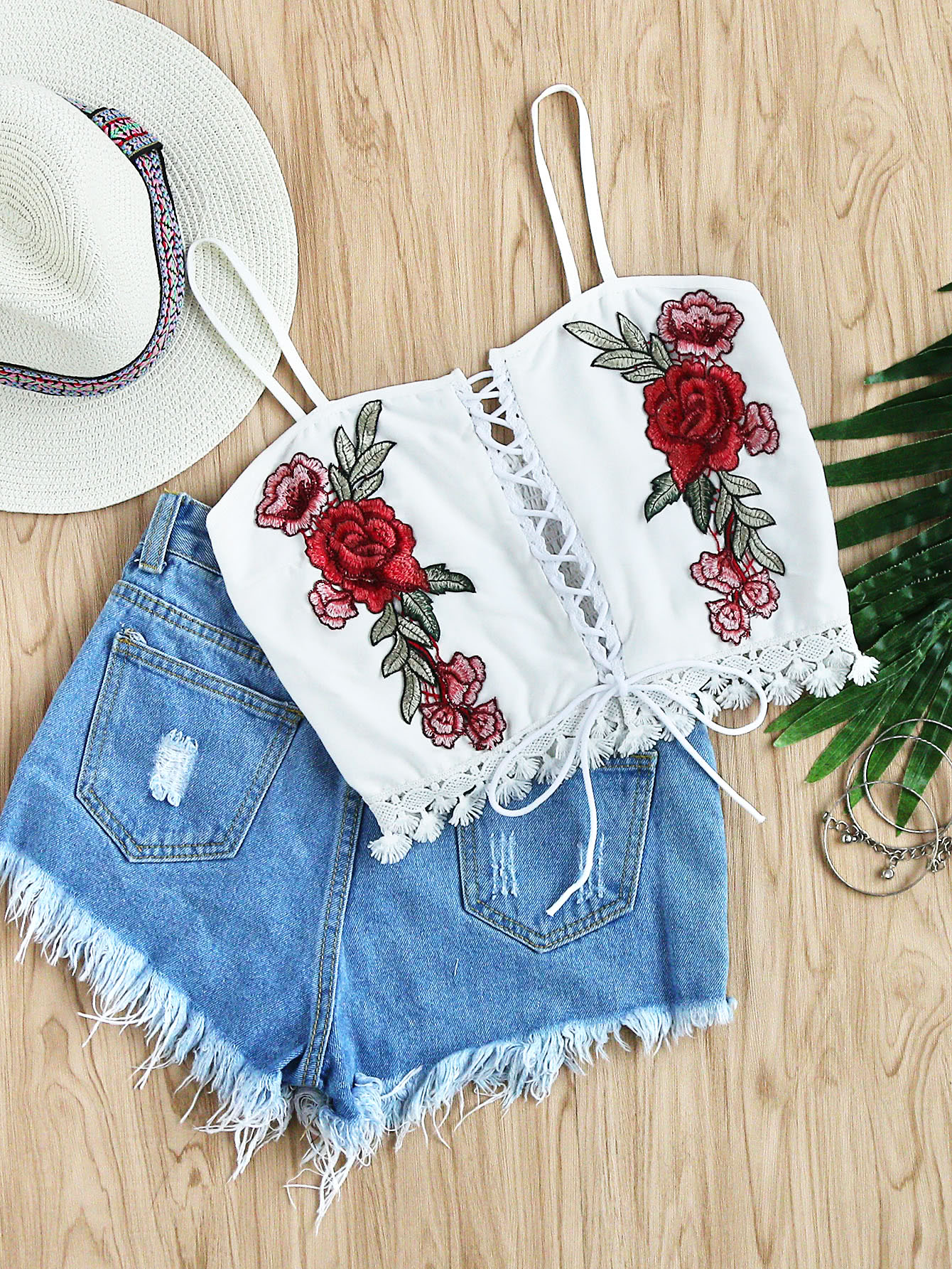 Rose embroidered patch lace up hem topfor women romwe