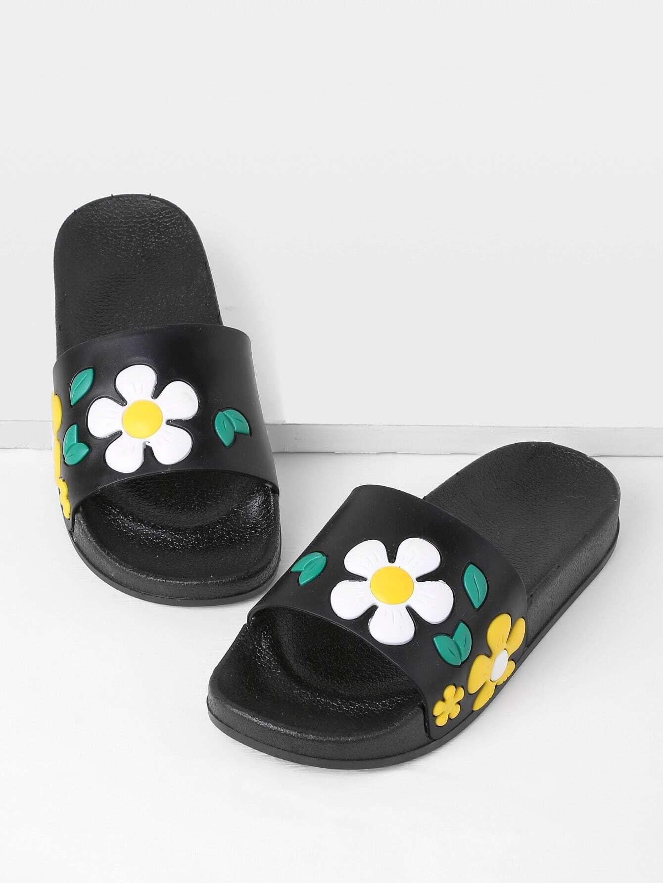 pu flache sandalen mit blumen. Black Bedroom Furniture Sets. Home Design Ideas