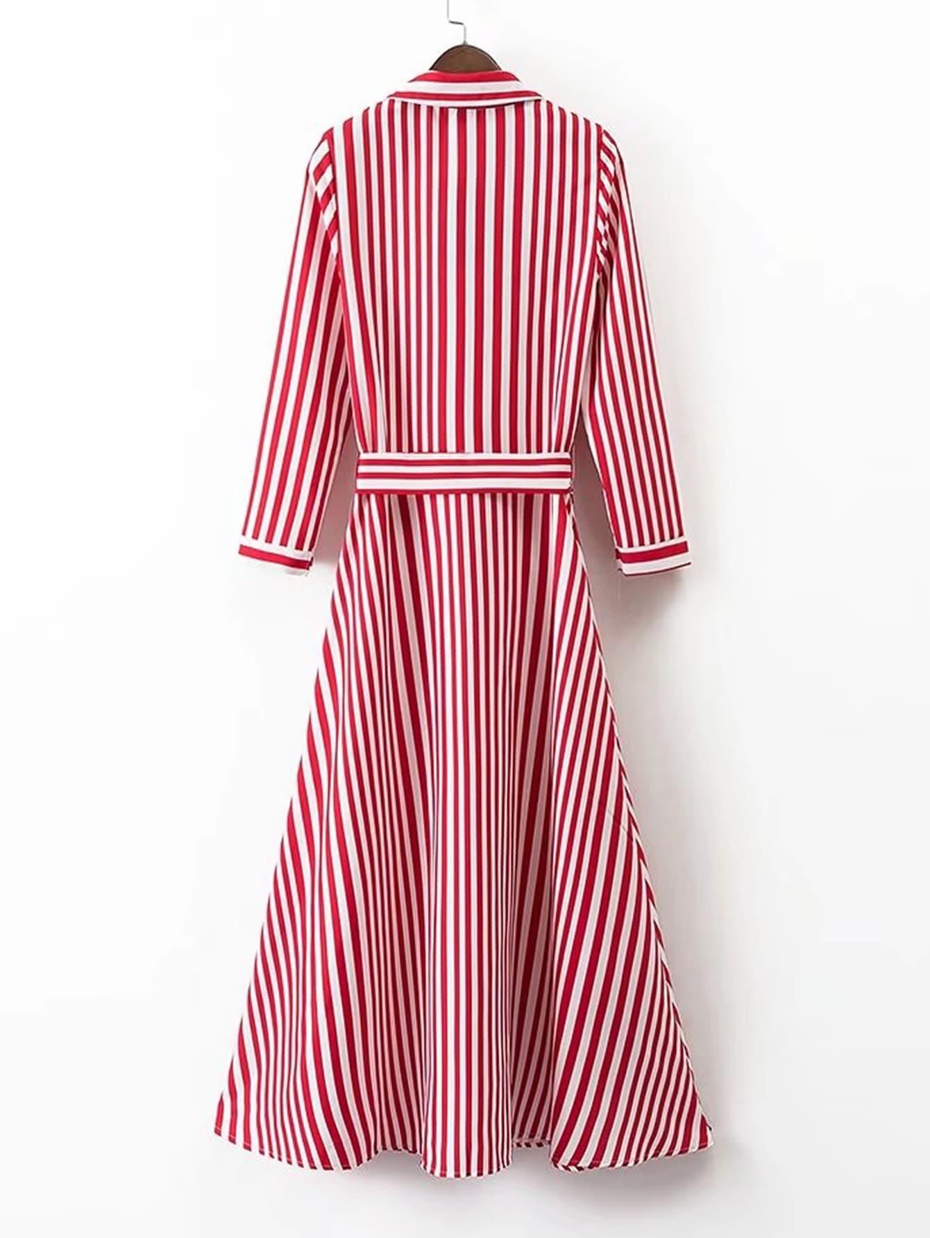 Vertical striped tie waist a line shirt dressfor women romwe for Striped tie with striped shirt
