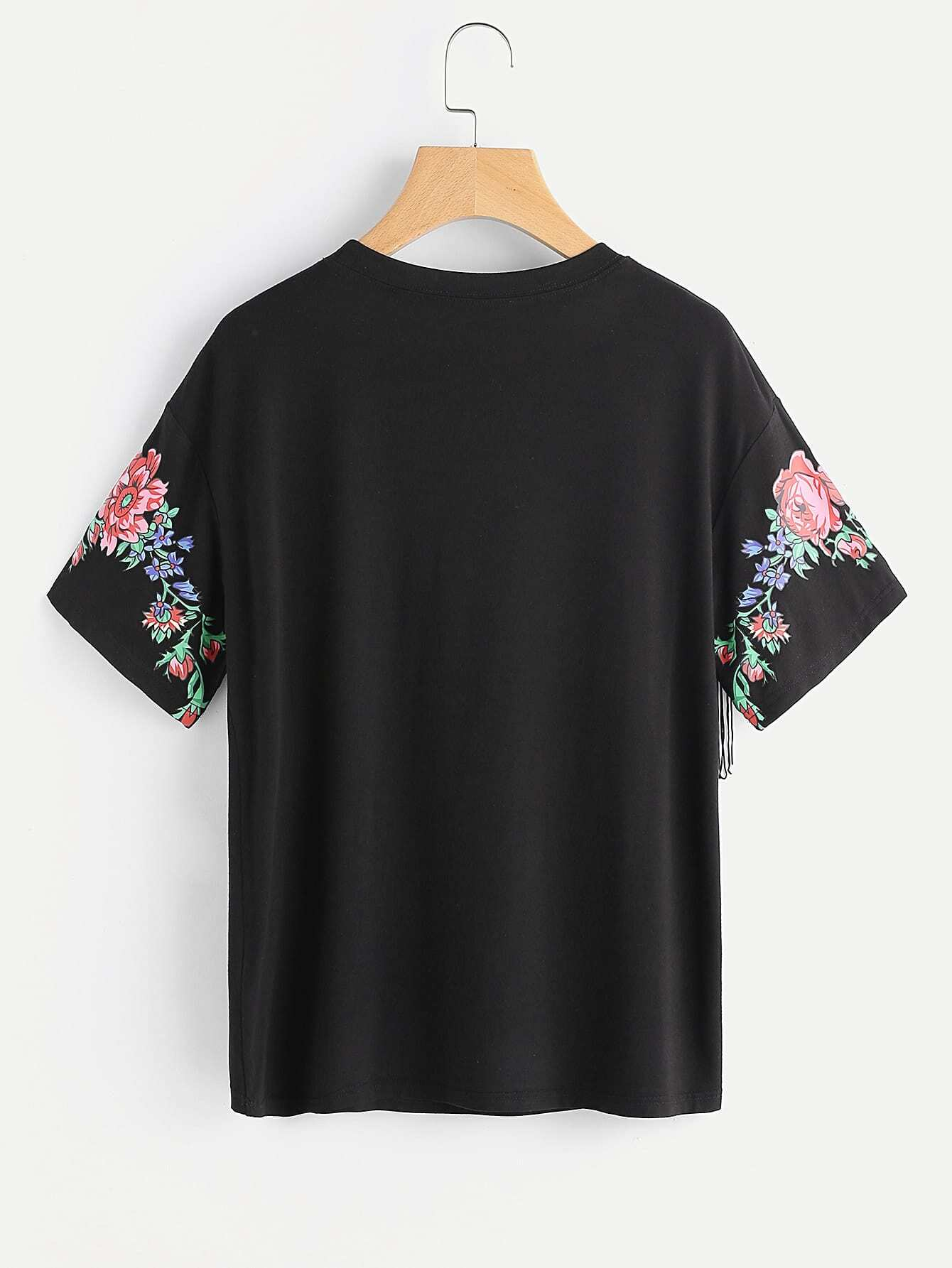 tee shirt d coup imprim des fleurs avec des franges. Black Bedroom Furniture Sets. Home Design Ideas