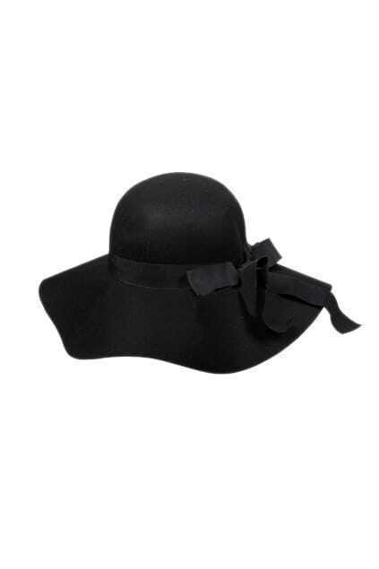 Retro Wool Bowknot Black Hat