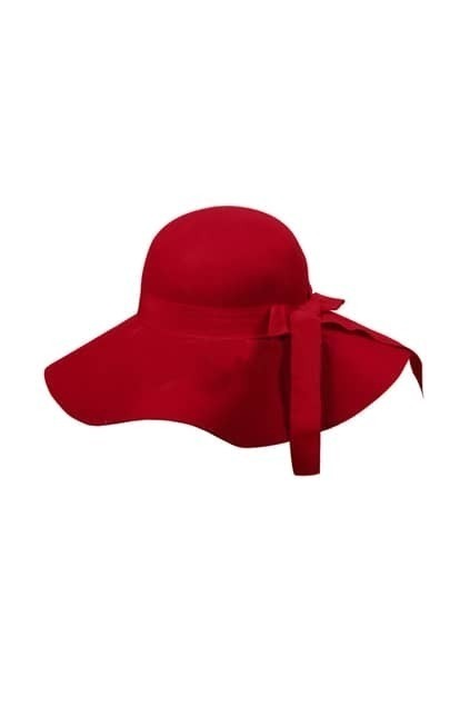 Retro Wool Bowknot Red Hat