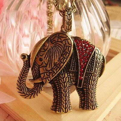 Red Jewel Elephant Necklace
