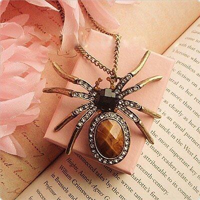 Diamond Sticking Spider Long Necklace