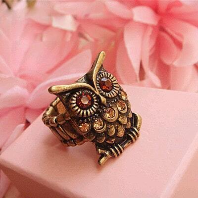 Heavy Material Owl Ring