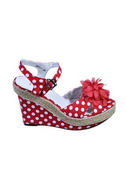 Polka Dots Peep Red Toe Sandals