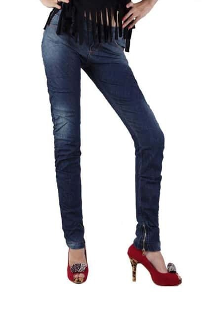 Pleat Dark Blue Jeans