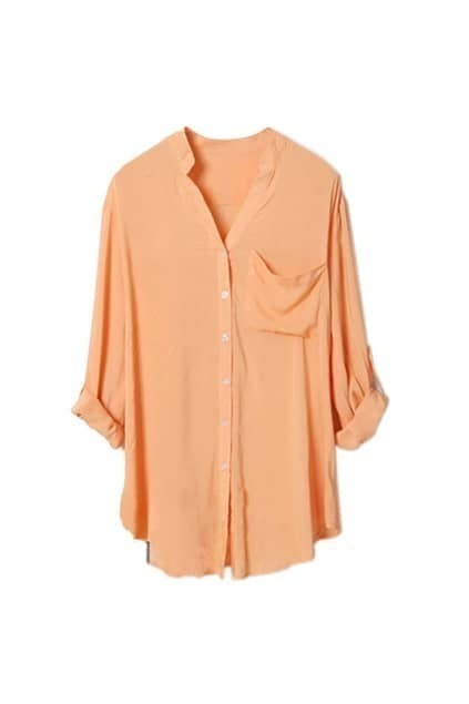 Orange Boyfriend Style Loose Shirt