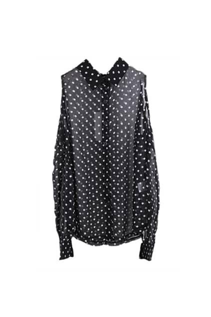 Polka Dots Off Shoulder Black Shirt