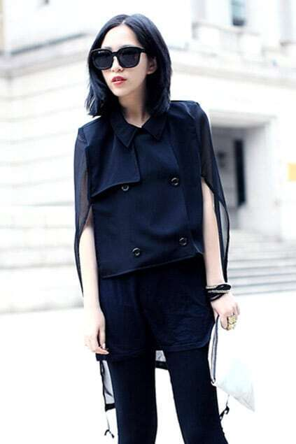 Windbreaker-style Chiffon Montage Back Shirt