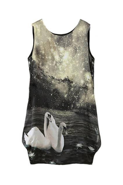Swan Scenery Real Silk Dress