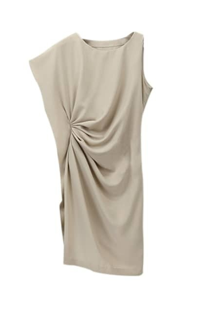 Camel Asymmetric Design Real Silk Dress