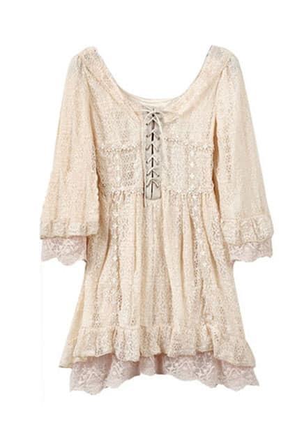 Low Round Neck Tieback Dress
