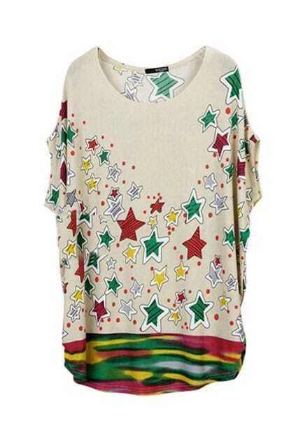 Colorful Stars Printing Oversized T-shirt Dress
