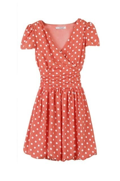 Dot Print Chiffon Shift Dress
