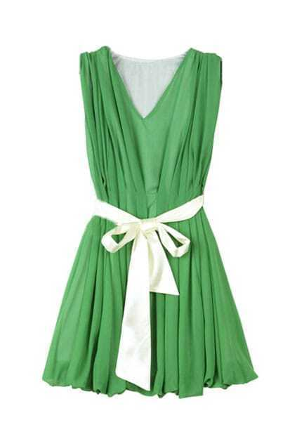 Fitted Waistband Green Shift Dress