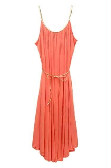 European Fitted Straps Belt Orange Dress