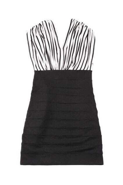 Deep V Stripes Slim Shift Dress