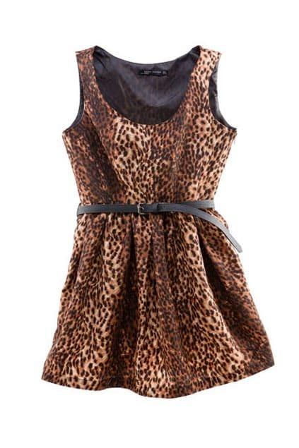 Leopard High-waist Sleeveless Shift Dress