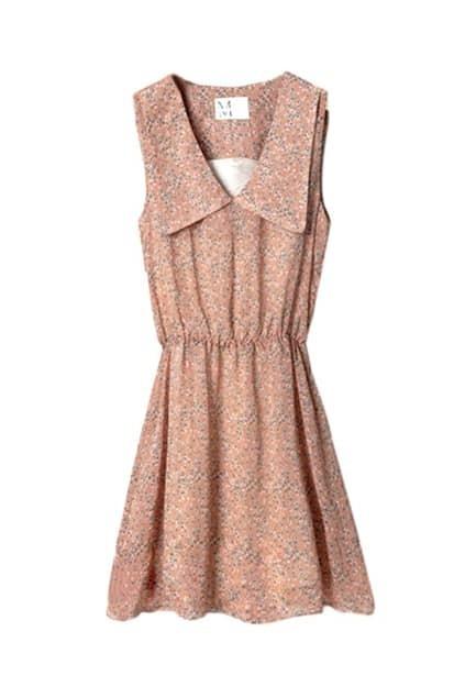 Floral Lapel Chiffon Sleeveless Orange Dress