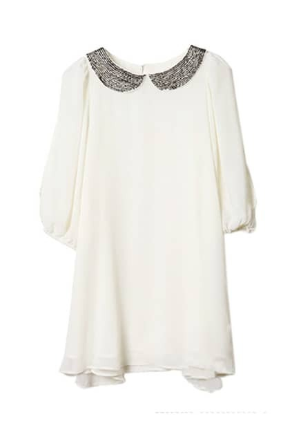 Mini Lapels White Chiffon Dress