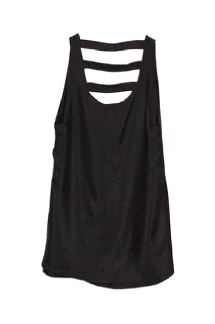 Hollow Horizontal Striping Back Black Dress