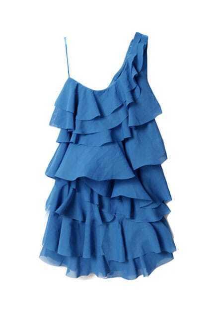 Oblique Shoulder Layer Flouncing Blue Dress