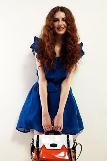 Ruffled Sleeve Blue Sheer Dress