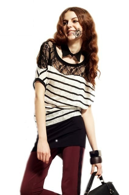 Lace And Stripe Splice Long Length Top