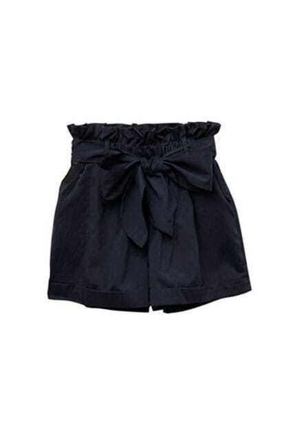 Skirt Style Lacing Black Casual Shorts