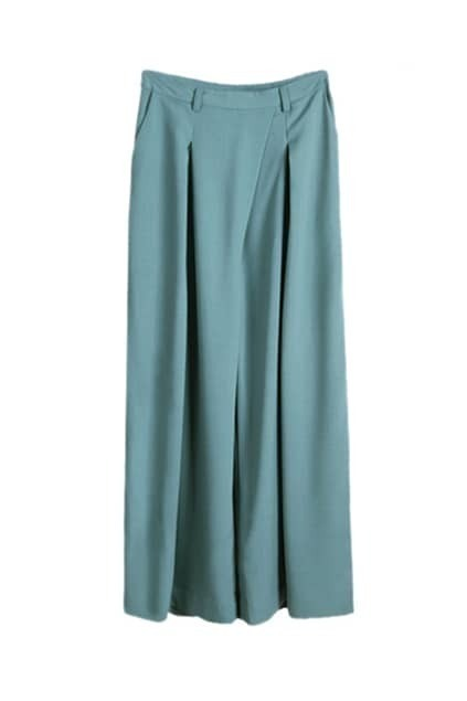Simple High-Waist Long Blue Flared Pants