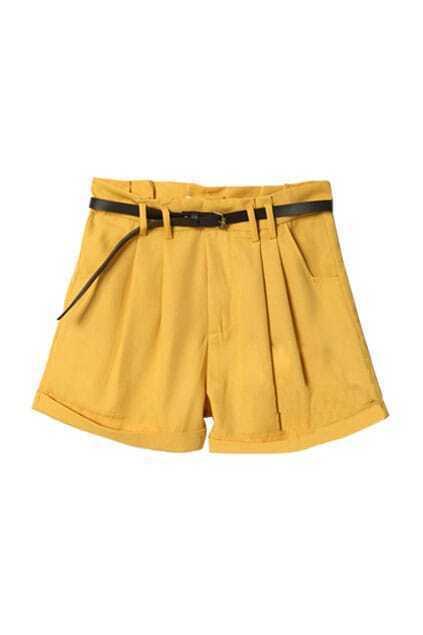 Turn Up Yellow Shorts